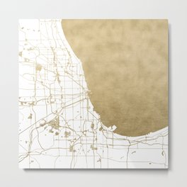 Chicago Gold and White Map Metal Print