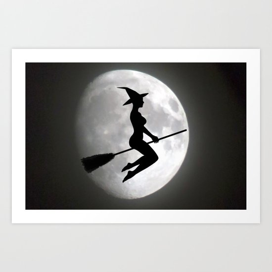 Witch On a Broom Against the Moon Art Print