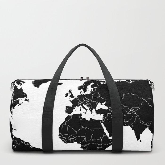 Minimalist World Map Black on White Background Duffle Bag