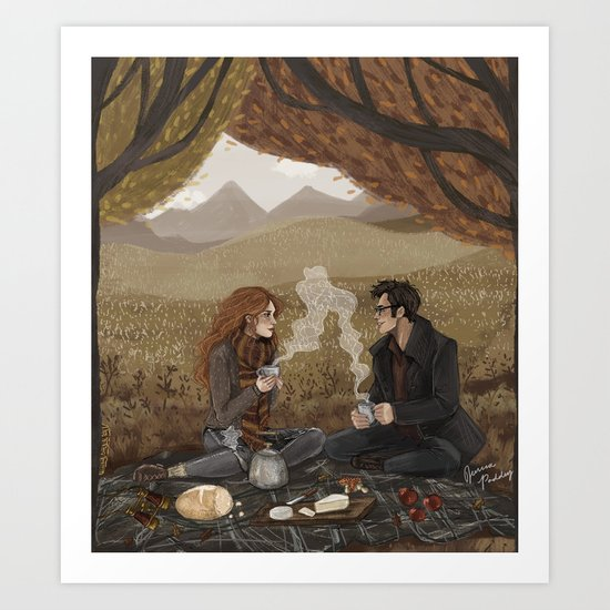 Lily and James, Autumn Picnic Art Print