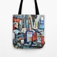 greek Tote Bags featuring Greek Street by Teresa Pople