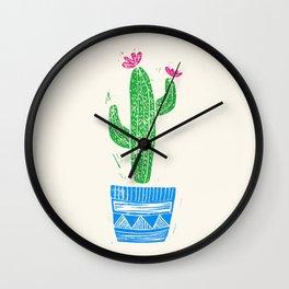 Linocut Cactus #2 in a pot Wall Clock