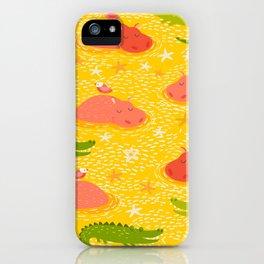 Cute african animals seamless pattern.Crocodile, hippo, hipo iPhone Case
