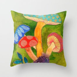 Toadstools Throw Pillow