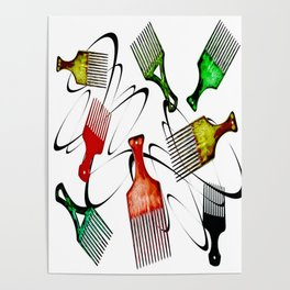 Afro Comb-White Poster