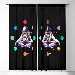 Retro Yoga Astronaut Meditates In Space Blackout Curtain