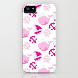 Whale Pattern, Sailor Whales, Sailor Boats - Pink iPhone Case