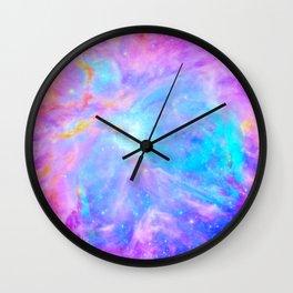 Orion nebulA : Bright Pink & Aqua Wall Clock