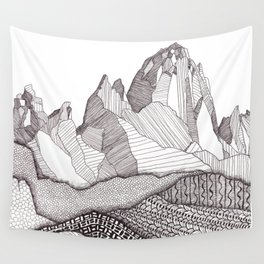 Patterns on Patagonia / Black and White Mountain Drawing / Abstract Mountain Landscape Wall Tapestry