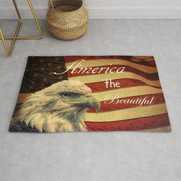 America the Beautiful Rustic Flag A109 Rug