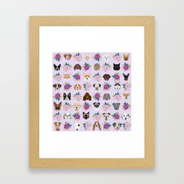 Dogs and cats pet friendly floral animal lover gifts dog breeds cat person Framed Art Print