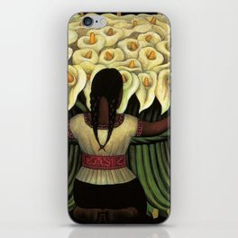 1941 Classical Masterpiece Calla lily 'Flower Seller' by Diego Rivera iPhone Skin