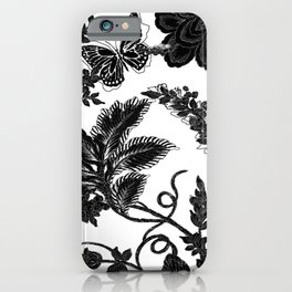 Paisley Jacobean black and White iPhone Case