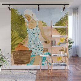 Biking In The Woods #illustration #painting Wall Mural