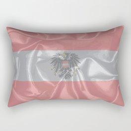 Silk Austrian Flag and Coat of Arms Rectangular Pillow