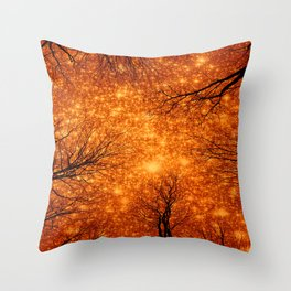Black Trees Amber Space Throw Pillow