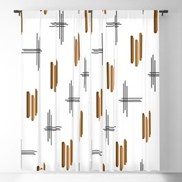 Mid Century Modern Lines Brown Blackout Curtain