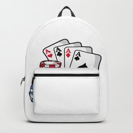 POKER CARDS AND CHIPS Texas Holdem Casino Vegas Backpack