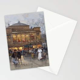 Theater du Chatelet, Paris Opera House, France portrait painting by Eugene Galian Laloue Stationery Cards