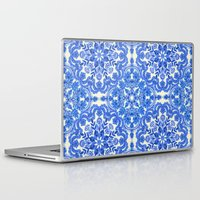 folk Laptop & iPad Skins featuring Cobalt Blue & China White Folk Art Pattern by micklyn