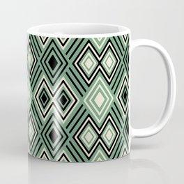 Sage green, cream and black tribal diamonds and stripes Coffee Mug