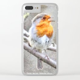 Angelic Robin Watercolor Clear iPhone Case