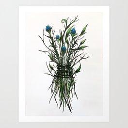 Wicked Weed (blue) Art Print