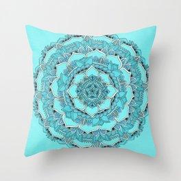 Mandala: Floral Blues Throw Pillow