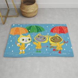 Rainy Day Kitty Cats Rug