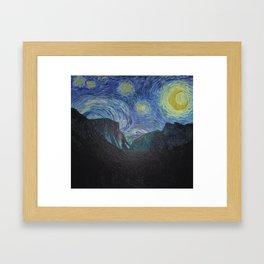 Vincent Van Gogh's Starry Night Over Yosemite National Park Landscape Framed Art Print