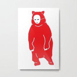 Red Bear Mask Metal Print