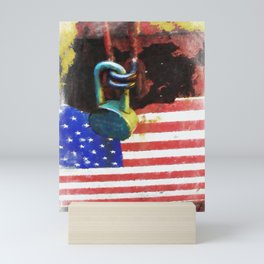 Civil Rights And Wrongs Home Land Security Flag And Lock 1 Mini Art Print