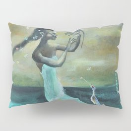 African American Masterpiece 'Girl at the Ocean' by Karl Priebe Pillow Sham