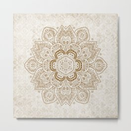 Mandala Temptation in Cream Metal Print