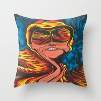 fear and loathing Throw Pillows featuring Fear and Loathing  by Katrina Berkenbosch