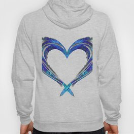 Romantic Abstract Heart Art - Big Blue Love - Sharon Cummings Hoody