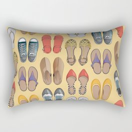 Hard choice // shoes on yellow background Rectangular Pillow