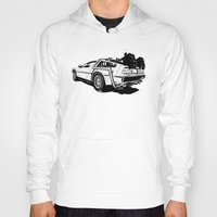 delorean Hoodies featuring DeLorean / BW by CranioDsgn