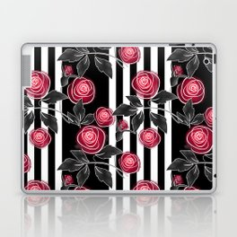 Red roses on black and white striped background. Laptop & iPad Skin
