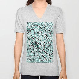 """The Face"" - inspired by Keith Haring v. teal Unisex V-Neck"
