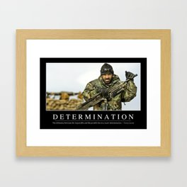 Determination: Inspirational Quote and Motivational Poster Framed Art Print