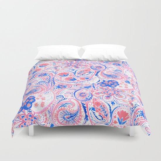 Paisley Watercolor Blue Duvet Cover