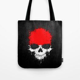 Flag of Indonesia on a Chaotic Splatter Skull Tote Bag