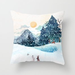 Happy Litlle Wildlife Throw Pillow