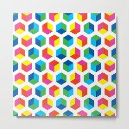Geometric Pattern #90 (colorful cubes) Metal Print