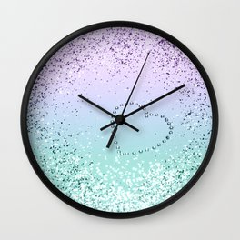 Sparkling MERMAID Girls Glitter Heart #1 #decor #art #society6 Wall Clock