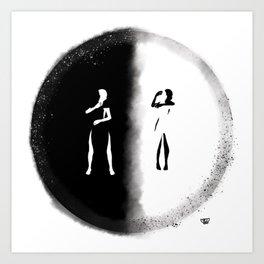 Interracial Couple Hug Art Print