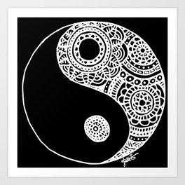 Black and White Lace Yin Yang Art Print
