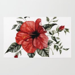 Blooming Red Hibiscus Rug