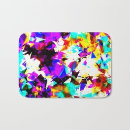 psychedelic geometric triangle abstract pattern in purple pink blue yellow red Bath Mat